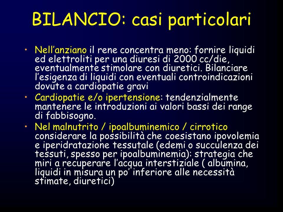 BILANCIO: casi particolari Nellanziano il rene concentra meno: fornire liquidi ed elettroliti per una diuresi di 2000 cc/die, eventualmente stimolare