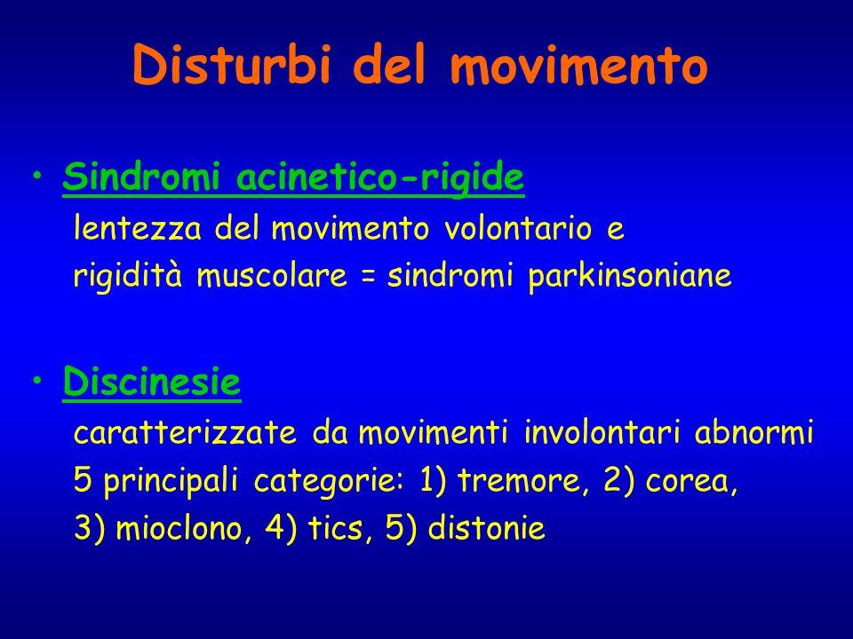 Disturbi del movimento Sindromi acinetico-rigide lentezza del movimento volontario e rigidità muscolare = sindromi parkinsoniane Discinesie caratteriz