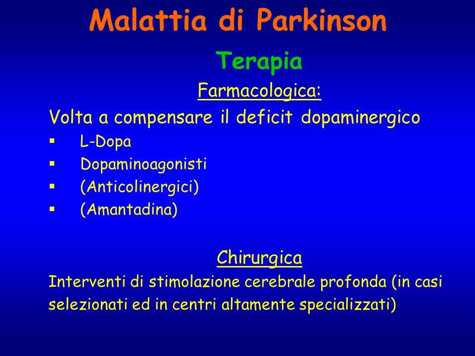 Malattia di Parkinson Terapia Farmacologica: Volta a compensare il deficit dopaminergico L-Dopa Dopaminoagonisti (Anticolinergici) (Amantadina) Chirur