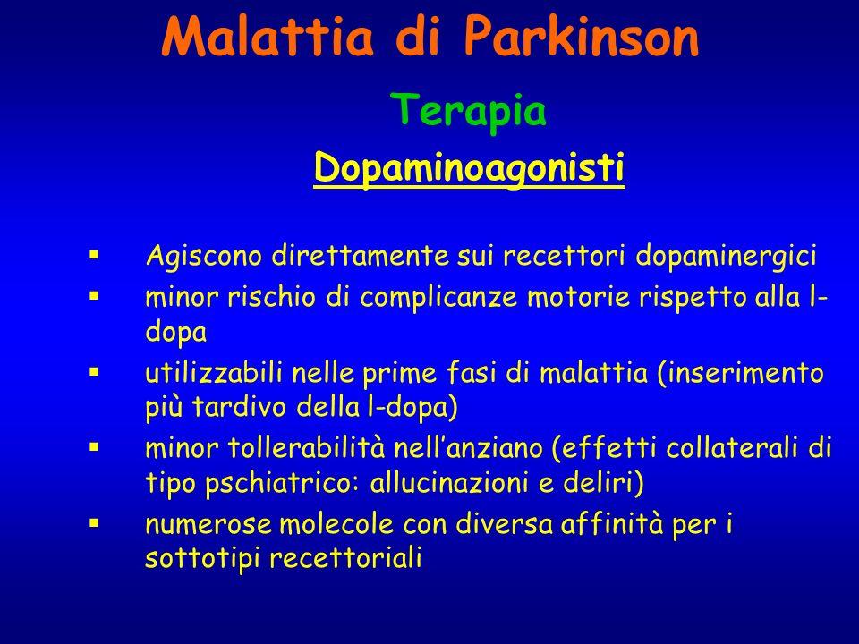 Malattia di Parkinson Terapia Dopaminoagonisti Agiscono direttamente sui recettori dopaminergici minor rischio di complicanze motorie rispetto alla l-