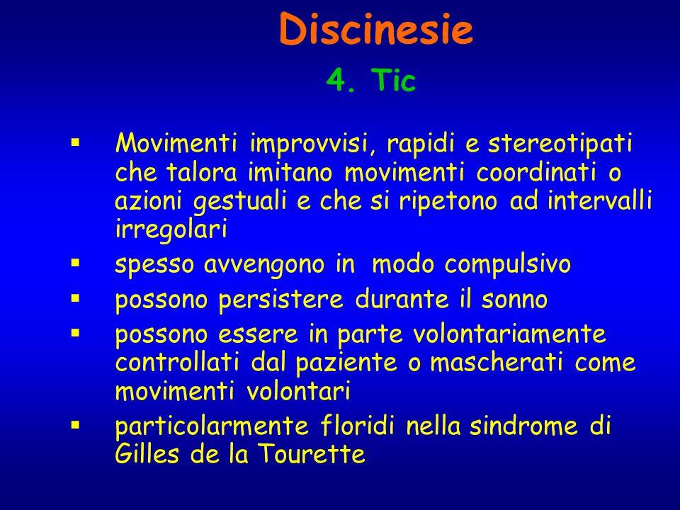 Discinesie 4. Tic Movimenti improvvisi, rapidi e stereotipati che talora imitano movimenti coordinati o azioni gestuali e che si ripetono ad intervall