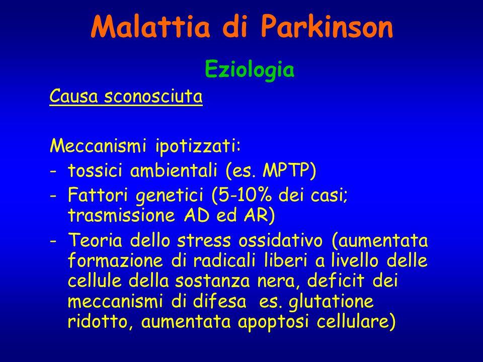 Malattia di Parkinson Eziologia Causa sconosciuta Meccanismi ipotizzati: -tossici ambientali (es. MPTP) -Fattori genetici (5-10% dei casi; trasmission