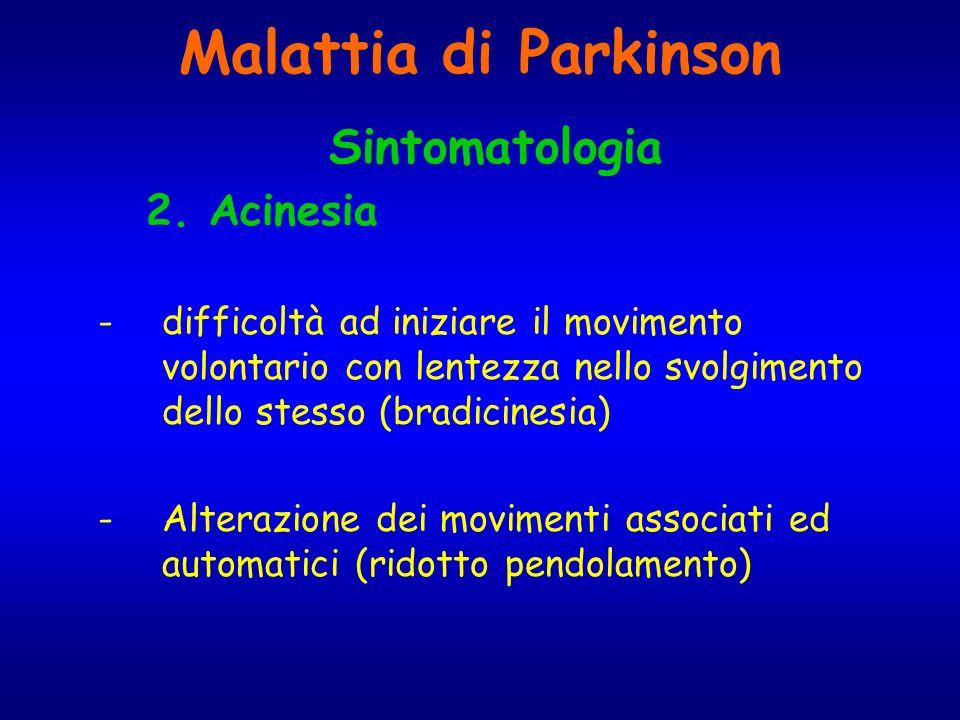 Malattia di Parkinson Sintomatologia 2. Acinesia -difficoltà ad iniziare il movimento volontario con lentezza nello svolgimento dello stesso (bradicin
