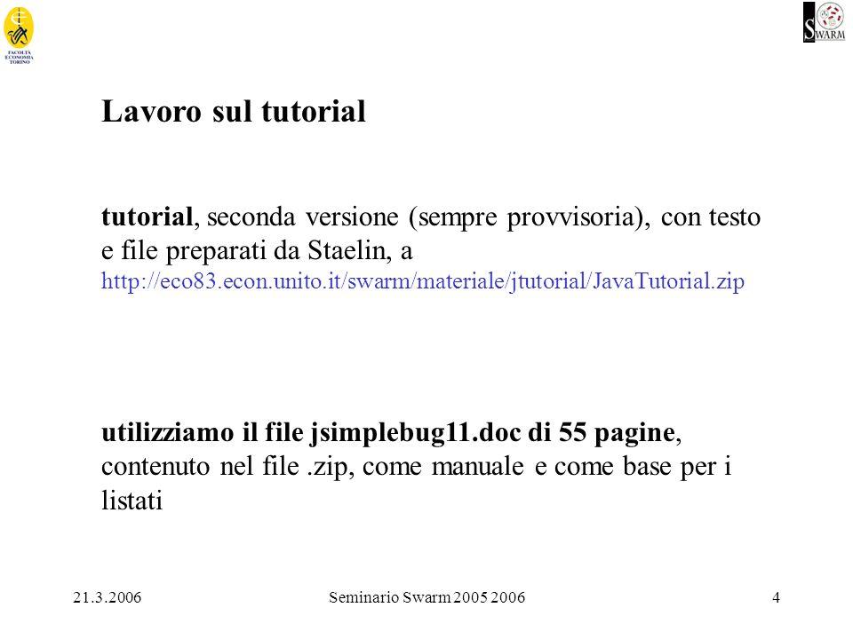 21.3.2006Seminario Swarm 2005 20064 Lavoro sul tutorial tutorial, seconda versione (sempre provvisoria), con testo e file preparati da Staelin, a http://eco83.econ.unito.it/swarm/materiale/jtutorial/JavaTutorial.zip utilizziamo il file jsimplebug11.doc di 55 pagine, contenuto nel file.zip, come manuale e come base per i listati