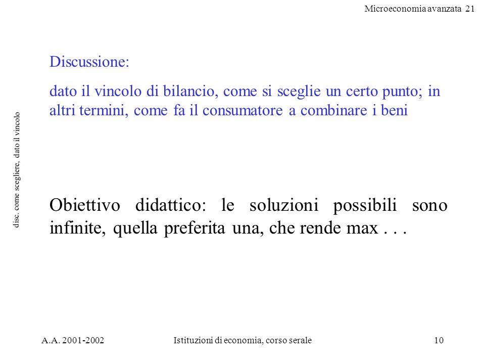 Microeconomia avanzata 21 A.A. 2001-2002Istituzioni di economia, corso serale10 disc. come scegliere, dato il vincolo Discussione: dato il vincolo di