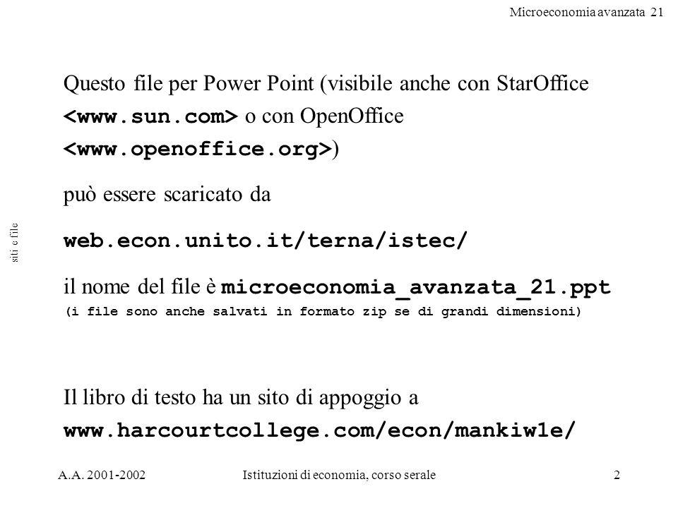 Microeconomia avanzata 21 A.A. 2001-2002Istituzioni di economia, corso serale2 Questo file per Power Point (visibile anche con StarOffice o con OpenOf
