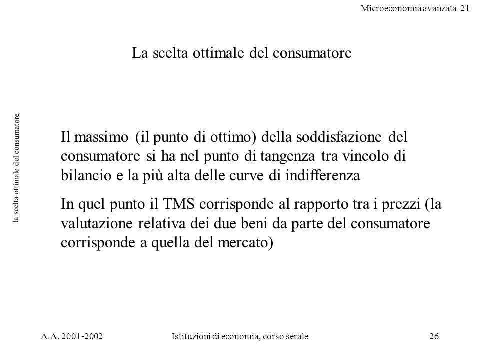 Microeconomia avanzata 21 A.A. 2001-2002Istituzioni di economia, corso serale26 la scelta ottimale del consumatore La scelta ottimale del consumatore