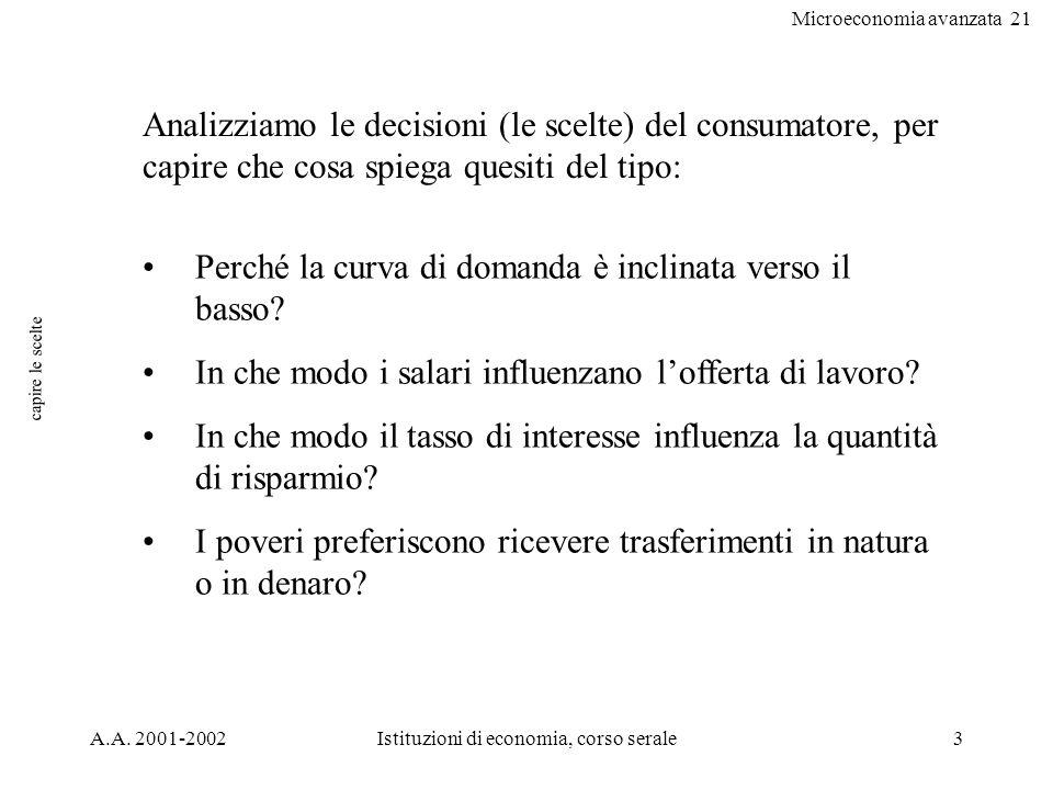 Microeconomia avanzata 21 A.A. 2001-2002Istituzioni di economia, corso serale3 capire le scelte Analizziamo le decisioni (le scelte) del consumatore,