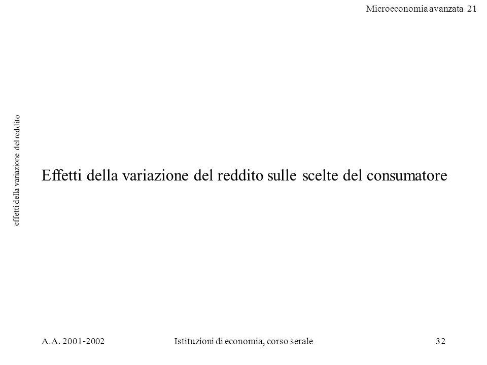 Microeconomia avanzata 21 A.A. 2001-2002Istituzioni di economia, corso serale32 effetti della variazione del reddito Effetti della variazione del redd