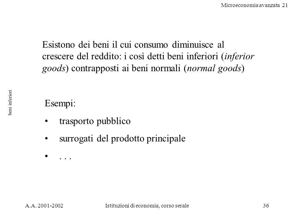 Microeconomia avanzata 21 A.A. 2001-2002Istituzioni di economia, corso serale36 beni inferiori Esempi: trasporto pubblico surrogati del prodotto princ
