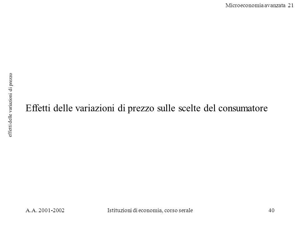 Microeconomia avanzata 21 A.A. 2001-2002Istituzioni di economia, corso serale40 effetti delle variazioni di prezzo Effetti delle variazioni di prezzo