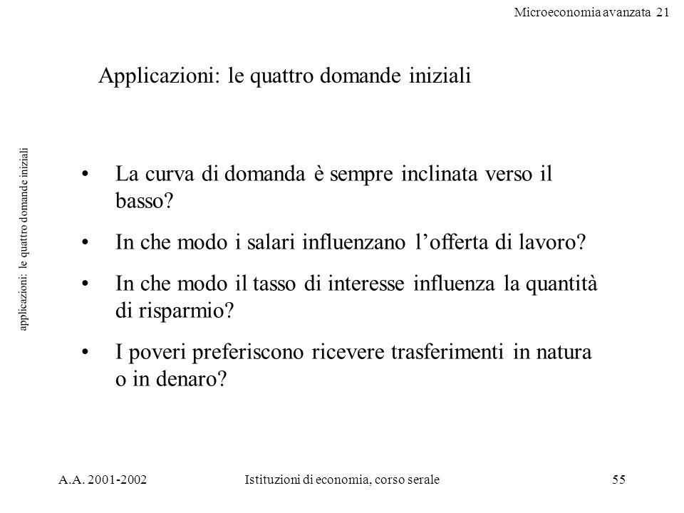 Microeconomia avanzata 21 A.A. 2001-2002Istituzioni di economia, corso serale55 applicazioni: le quattro domande iniziali Applicazioni: le quattro dom