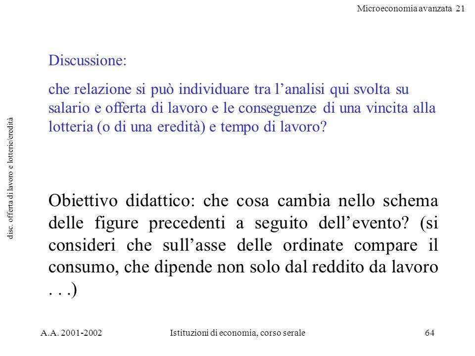Microeconomia avanzata 21 A.A. 2001-2002Istituzioni di economia, corso serale64 disc. offerta di lavoro e lotterie/eredità Discussione: che relazione