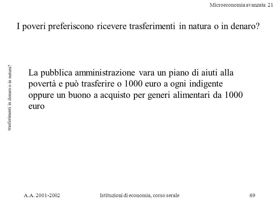 Microeconomia avanzata 21 A.A. 2001-2002Istituzioni di economia, corso serale69 trasferimenti in denaro o in natura? I poveri preferiscono ricevere tr