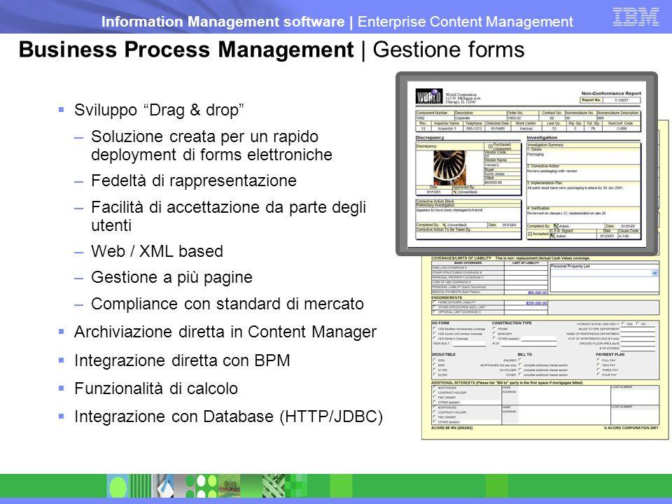 Information Management software   Enterprise Content Management Business Process Management   Gestione forms Sviluppo Drag & drop –Soluzione creata pe