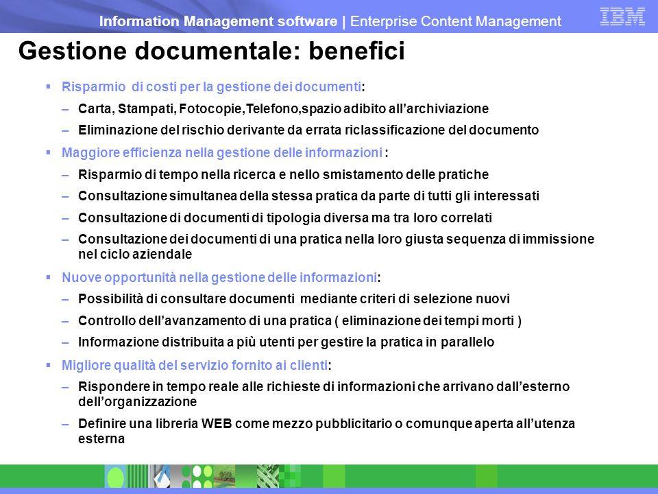 Information Management software   Enterprise Content Management Gestione documentale: benefici Risparmio di costi per la gestione dei documenti: –Cart