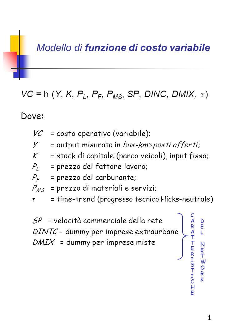 1 Modello di funzione di costo variabile VC = h (Y, K, P L, P F, P MS, SP, DINC, DMIX, ) Dove: VC= costo operativo (variabile); Y = output misurato in bus-km×posti offerti ; K= stock di capitale (parco veicoli), input fisso; P L = prezzo del fattore lavoro; P F = prezzo del carburante; P MS = prezzo di materiali e servizi; = time-trend ( progresso tecnico Hicks-neutrale ) SP = velocità commerciale della rete DINTC = dummy per imprese extraurbane DMIX = dummy per imprese miste CARATTERISTICHE DELNETWORK