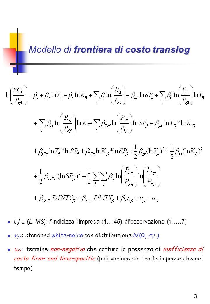 3 frontiera di costo translog Modello di frontiera di costo translog i, j {L, MS}; f indicizza limpresa (1,..,45), t losservazione (1,…,7) v ft : standard white-noise con distribuzione N (0, v 2 ) u ft : termine non-negativo che cattura la presenza di inefficienza di costo firm- and time-specific (può variare sia tra le imprese che nel tempo)