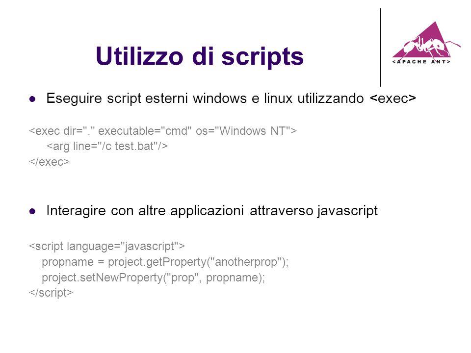 Utilizzo di scripts Eseguire script esterni windows e linux utilizzando Interagire con altre applicazioni attraverso javascript propname = project.getProperty( anotherprop ); project.setNewProperty( prop , propname);