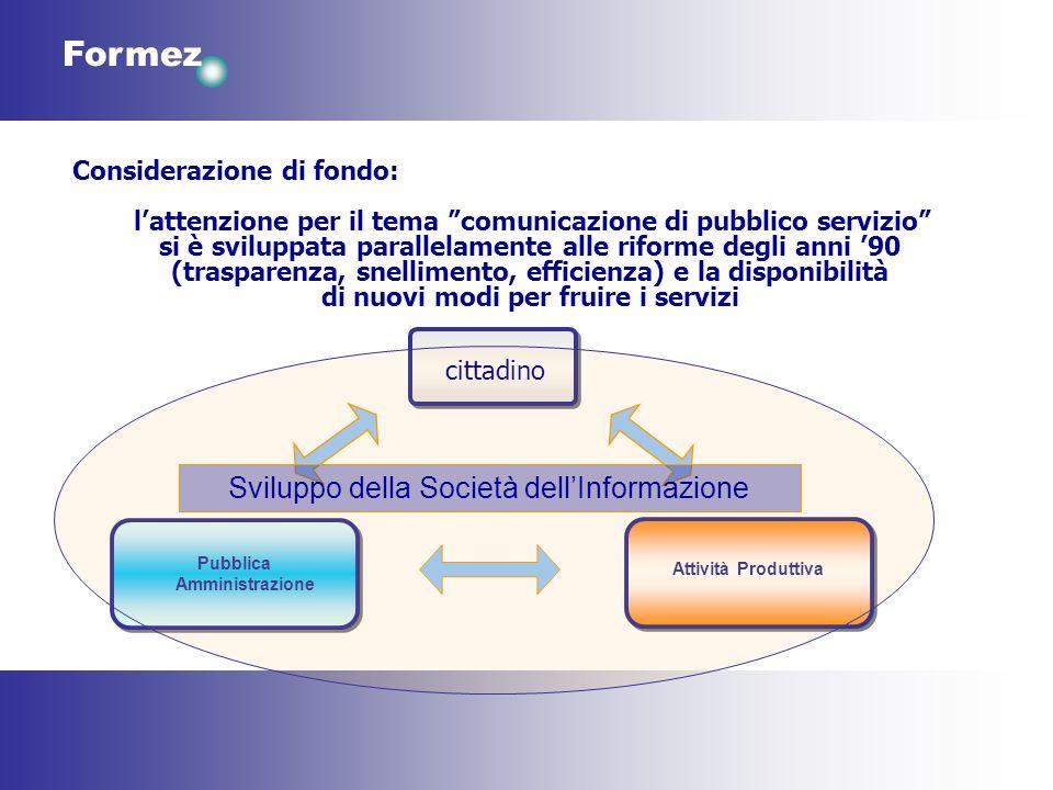 Formez Considerazione di fondo: lattenzione per il tema comunicazione di pubblico servizio si è sviluppata parallelamente alle riforme degli anni 90 (