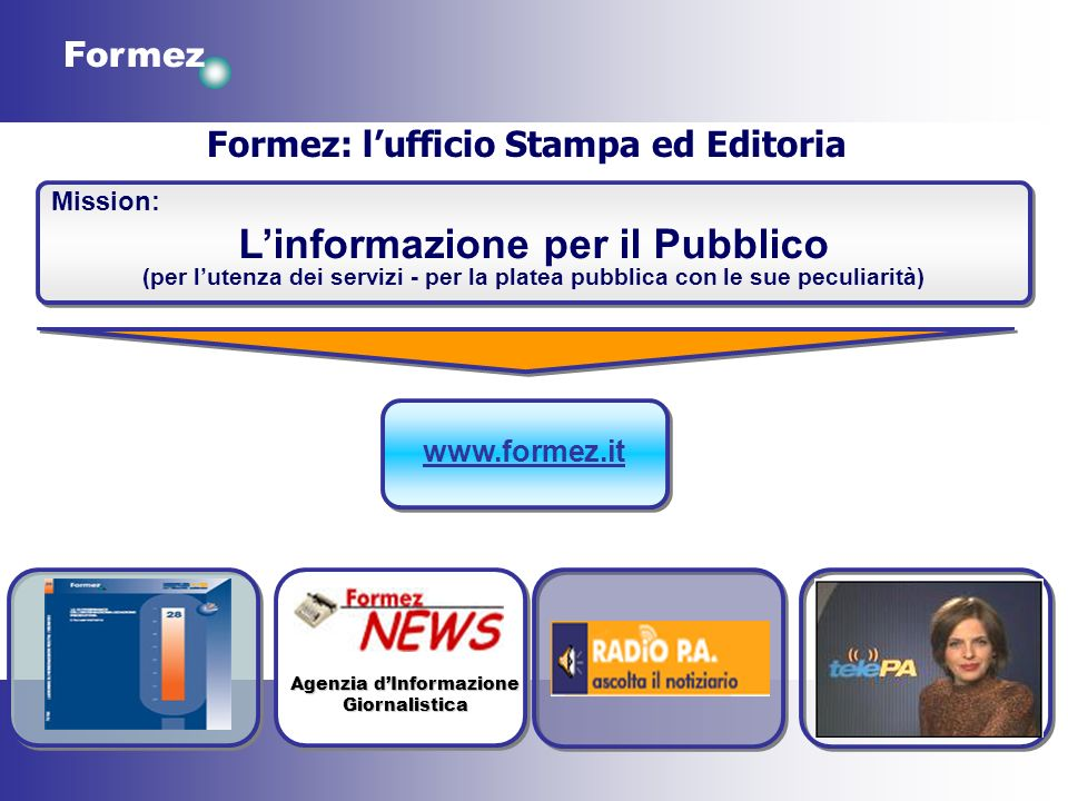 Formez Formez: lufficio Stampa ed Editoria Mission: Linformazione per il Pubblico (per lutenza dei servizi - per la platea pubblica con le sue peculia