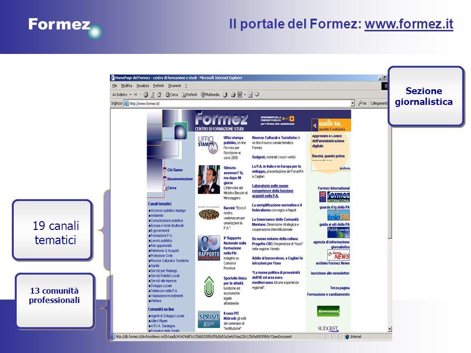 Formez 19 canali tematici 13 comunità professionali Il portale del Formez: www.formez.it Sezione giornalistica