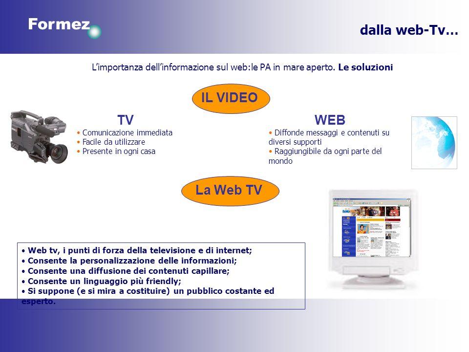 Formez dalla web-Tv… Web tv, i punti di forza della televisione e di internet; Consente la personalizzazione delle informazioni; Consente una diffusione dei contenuti capillare; Consente un linguaggio più friendly; Si suppone (e si mira a costituire) un pubblico costante ed esperto.