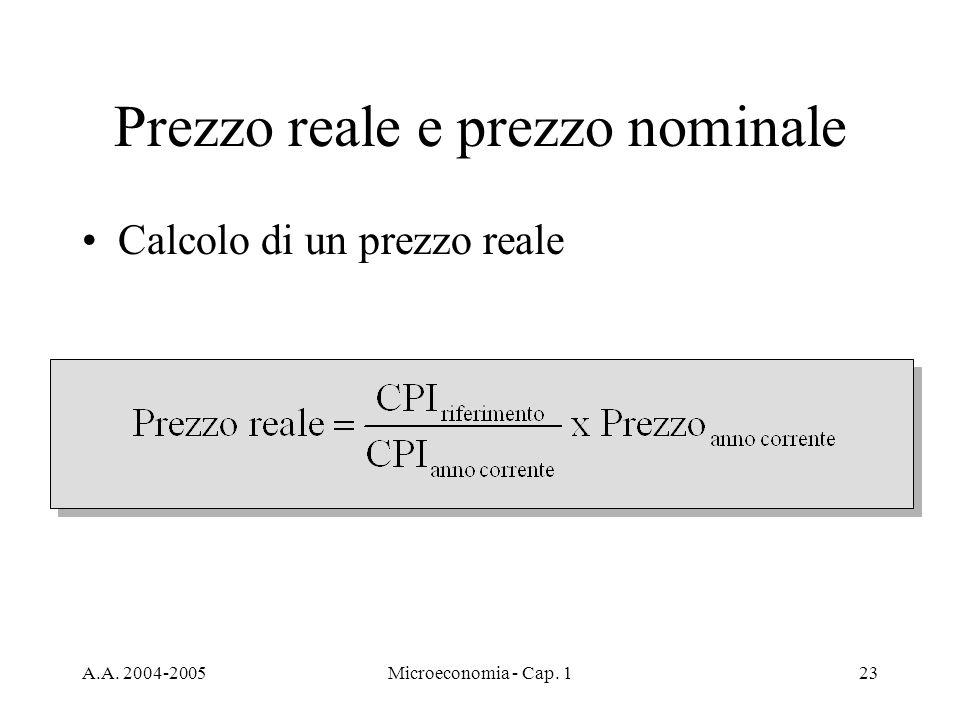 A.A. 2004-2005Microeconomia - Cap. 123 Prezzo reale e prezzo nominale Calcolo di un prezzo reale