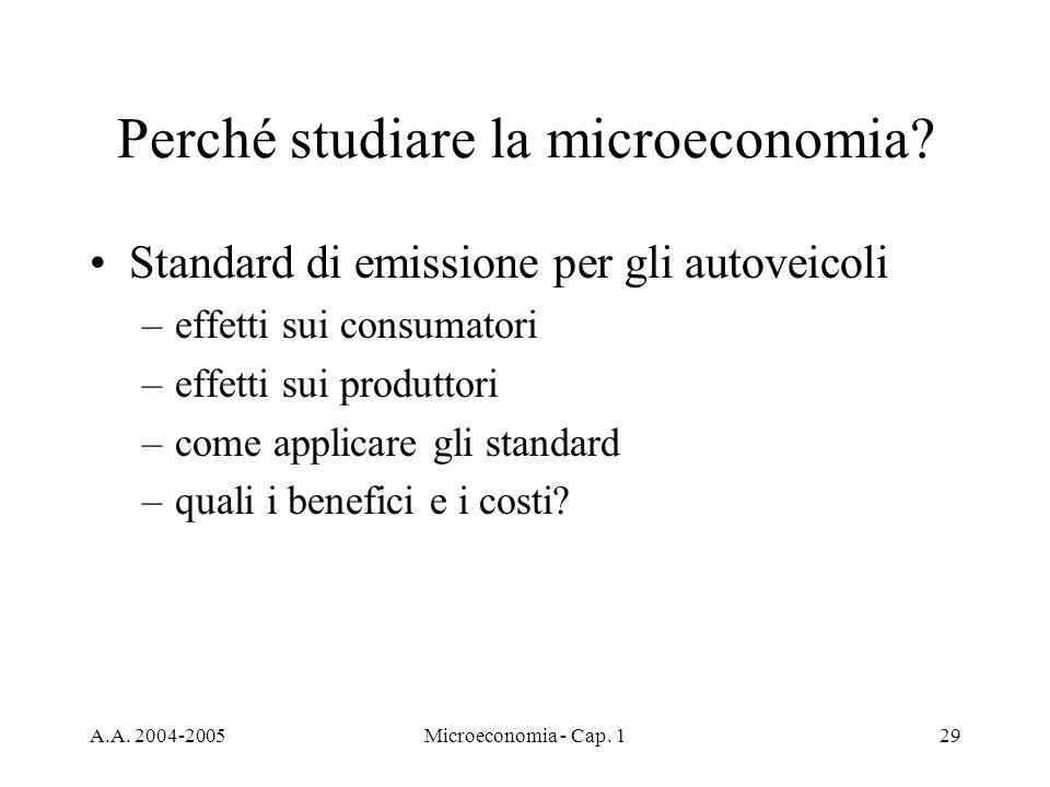 A.A. 2004-2005Microeconomia - Cap. 129 Perché studiare la microeconomia.