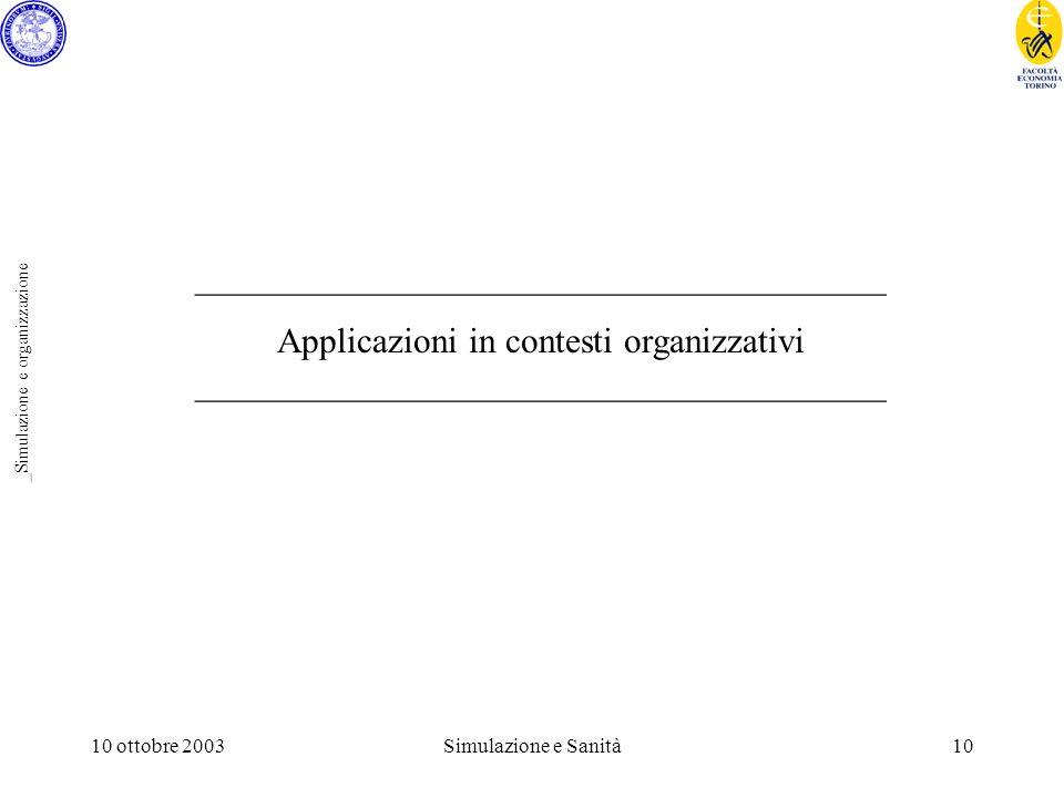 10 ottobre 2003Simulazione e Sanità10 _Simulazione e organizzazione _______________________________________ Applicazioni in contesti organizzativi _______________________________________