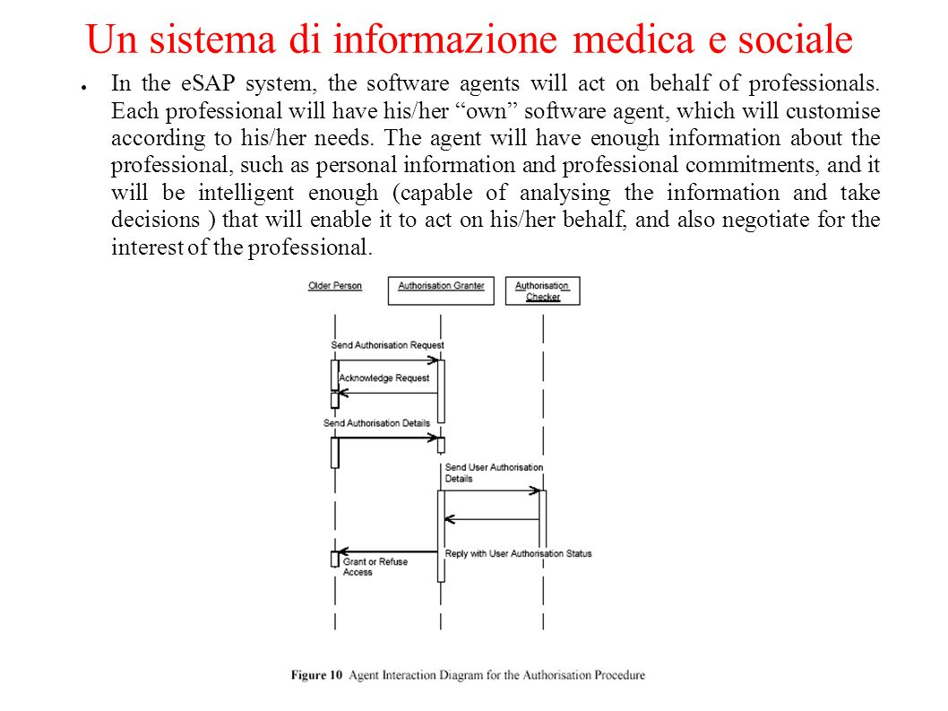 Un sistema di informazione medica e sociale In the eSAP system, the software agents will act on behalf of professionals. Each professional will have h