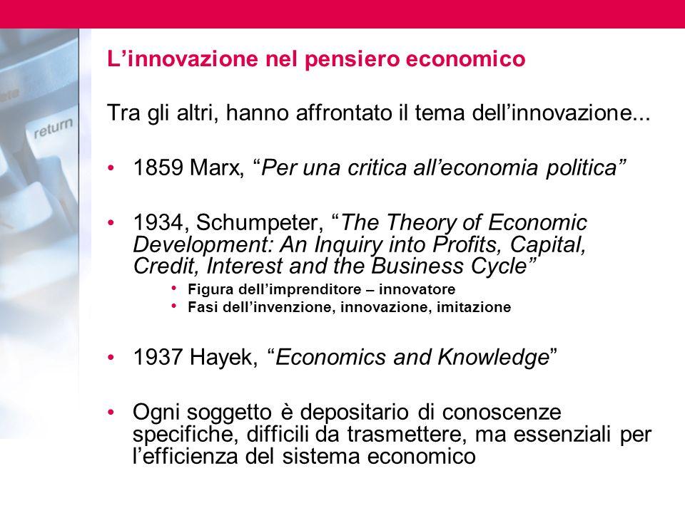 Linnovazione nel pensiero economico Tra gli altri, hanno affrontato il tema dellinnovazione...