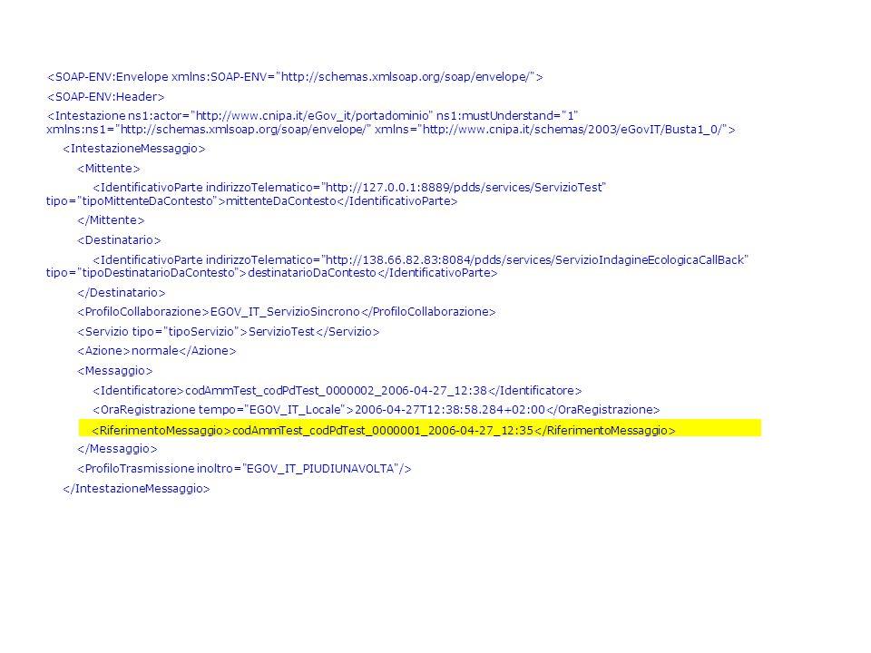 <Intestazione ns1:actor= http://www.cnipa.it/eGov_it/portadominio ns1:mustUnderstand= 1 xmlns:ns1= http://schemas.xmlsoap.org/soap/envelope/ xmlns= http://www.cnipa.it/schemas/2003/eGovIT/Busta1_0/ > <IdentificativoParte indirizzoTelematico= http://127.0.0.1:8889/pdds/services/ServizioTest tipo= tipoMittenteDaContesto >mittenteDaContesto <IdentificativoParte indirizzoTelematico= http://138.66.82.83:8084/pdds/services/ServizioIndagineEcologicaCallBack tipo= tipoDestinatarioDaContesto >destinatarioDaContesto EGOV_IT_ServizioSincrono ServizioTest normale codAmmTest_codPdTest_0000002_2006-04-27_12:38 2006-04-27T12:38:58.284+02:00 codAmmTest_codPdTest_0000001_2006-04-27_12:35 codAmmTest_codPdTest_0000001_2006-04-27_12:35