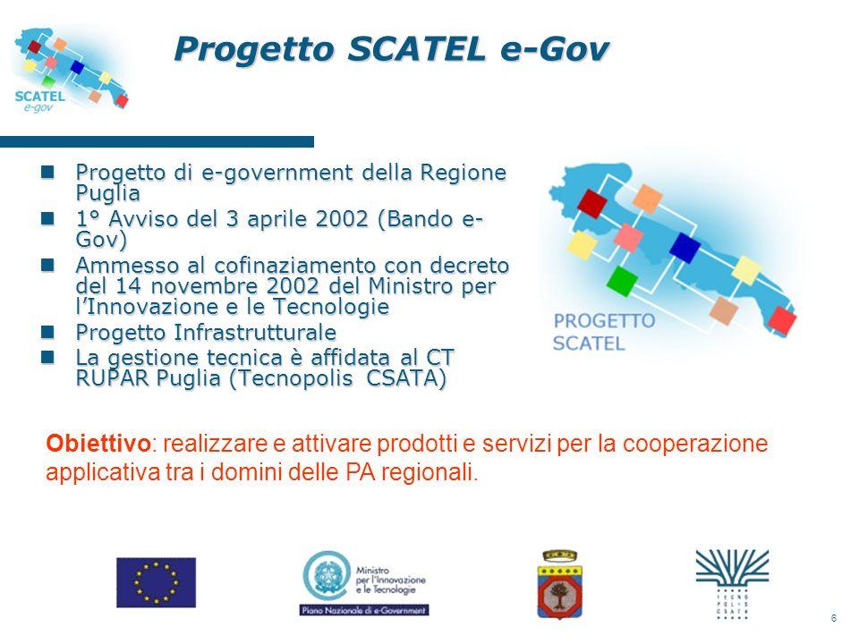 6 Progetto SCATEL e-Gov nProgetto di e-government della Regione Puglia n1° Avviso del 3 aprile 2002 (Bando e- Gov) nAmmesso al cofinaziamento con decreto del 14 novembre 2002 del Ministro per lInnovazione e le Tecnologie nProgetto Infrastrutturale nLa gestione tecnica è affidata al CT RUPAR Puglia (Tecnopolis CSATA) Obiettivo: realizzare e attivare prodotti e servizi per la cooperazione applicativa tra i domini delle PA regionali.