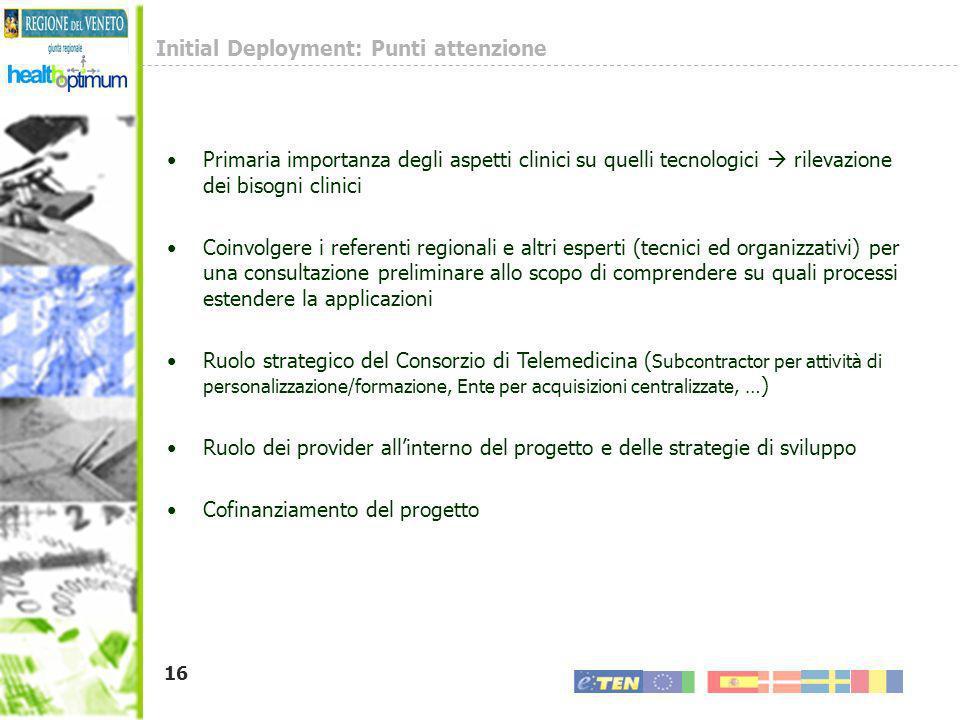 16 Initial Deployment: Punti attenzione Primaria importanza degli aspetti clinici su quelli tecnologici rilevazione dei bisogni clinici Coinvolgere i