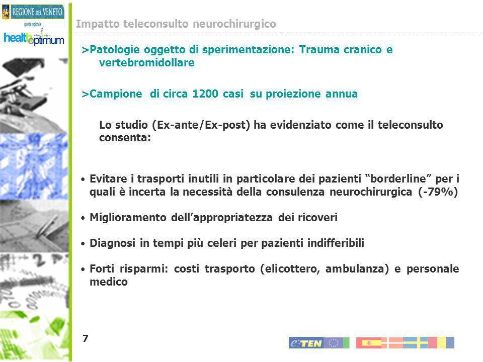 7 >Patologie oggetto di sperimentazione: Trauma cranico e vertebromidollare >Campione di circa 1200 casi su proiezione annua Lo studio (Ex-ante/Ex-pos