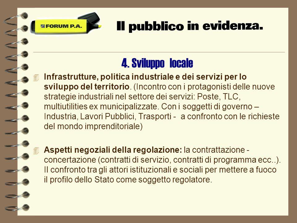 4. Sviluppo locale 4 Infrastrutture, politica industriale e dei servizi per lo sviluppo del territorio. (Incontro con i protagonisti delle nuove strat