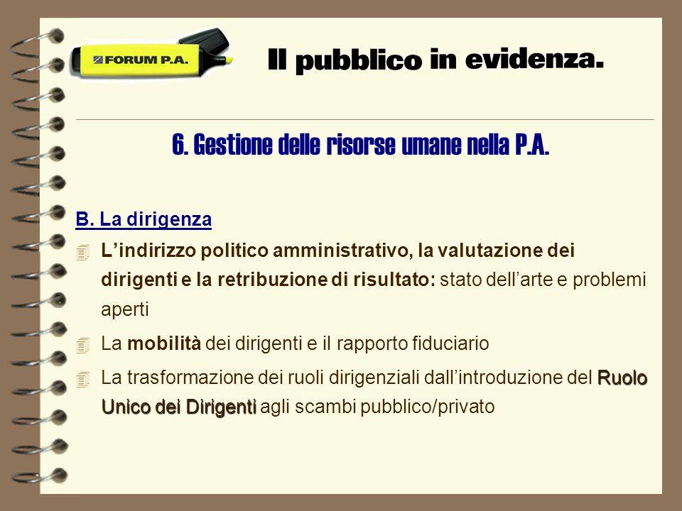 6. Gestione delle risorse umane nella P.A. B.