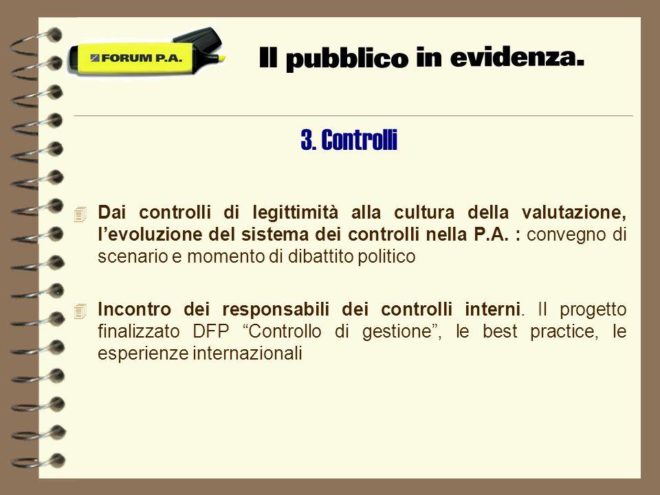3. Controlli 4 Dai controlli di legittimità alla cultura della valutazione, levoluzione del sistema dei controlli nella P.A. : convegno di scenario e