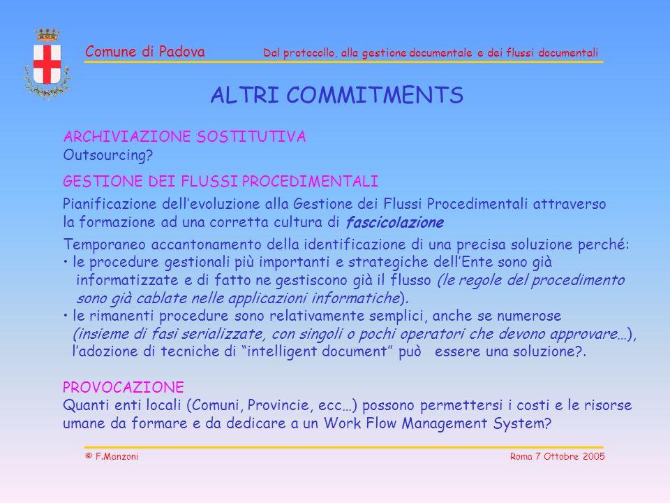 Comune di Padova Dal protocollo, alla gestione documentale e dei flussi documentali © F.Manzoni Roma 7 Ottobre 2005 ALTRI COMMITMENTS ARCHIVIAZIONE SO