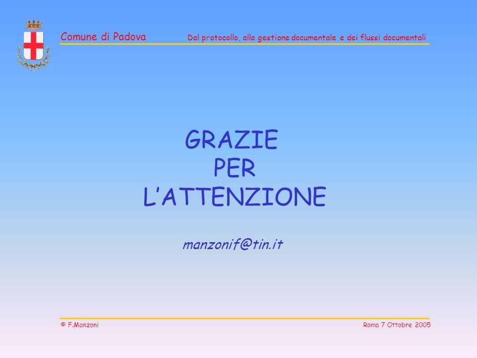 Comune di Padova Dal protocollo, alla gestione documentale e dei flussi documentali © F.Manzoni Roma 7 Ottobre 2005 GRAZIE PER LATTENZIONE manzonif@ti