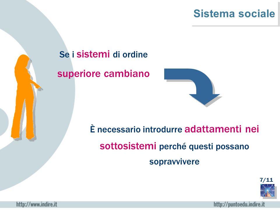 Se i sistemi di ordine superiore cambiano È necessario introdurre adattamenti nei sottosistemi perché questi possano sopravvivere Sistema sociale 7/11