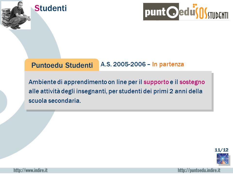 Studenti Puntoedu Studenti Ambiente di apprendimento on line per il supporto e il sostegno alle attività degli insegnanti, per studenti dei primi 2 an