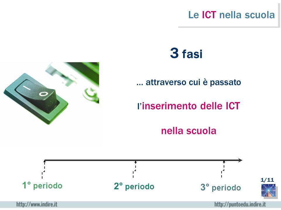 Le ICT nella scuola 3 fasi … attraverso cui è passato l inserimento delle ICT nella scuola 1° periodo 2° periodo 3° periodo 1/11
