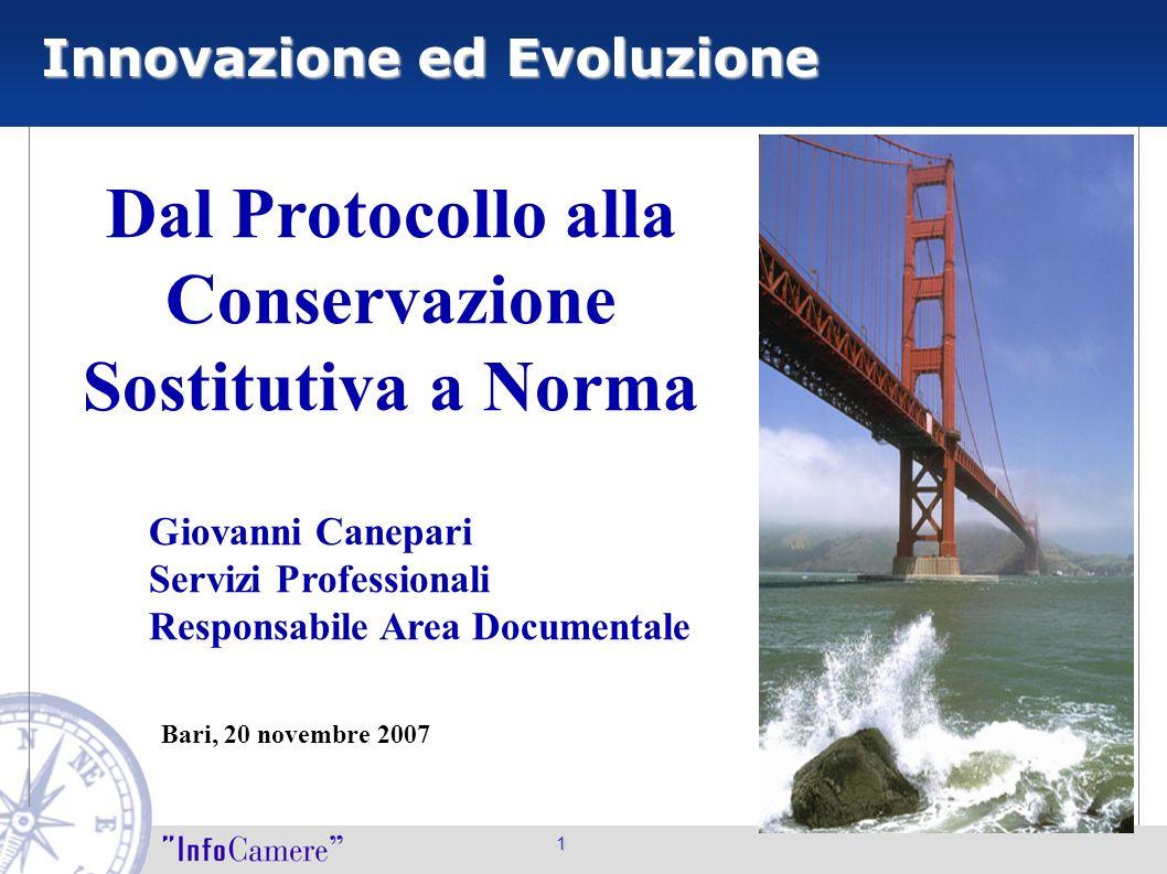 Innovazione ed Evoluzione 1 Dal Protocollo alla Conservazione Sostitutiva a Norma Giovanni Canepari Servizi Professionali Responsabile Area Documental
