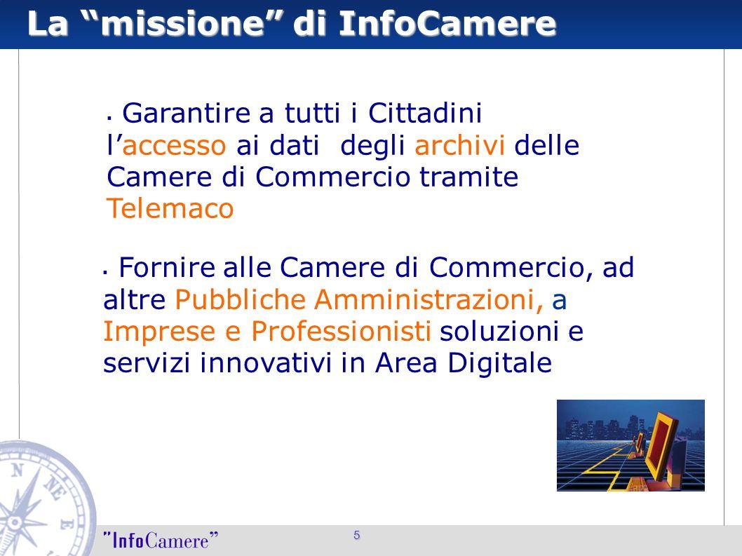La missione di InfoCamere 5 Fornire alle Camere di Commercio, ad altre Pubbliche Amministrazioni, a Imprese e Professionisti soluzioni e servizi innov