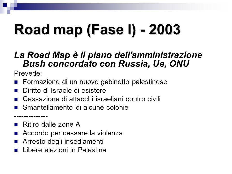 Road map (Fase I) - 2003 La Road Map è il piano dell amministrazione Bush concordato con Russia, Ue, ONU Prevede: Formazione di un nuovo gabinetto palestinese Diritto di Israele di esistere Cessazione di attacchi israeliani contro civili Smantellamento di alcune colonie -------------- Ritiro dalle zone A Accordo per cessare la violenza Arresto degli insediamenti Libere elezioni in Palestina