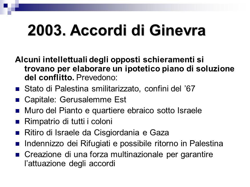 2003. Accordi di Ginevra Alcuni intellettuali degli opposti schieramenti si trovano per elaborare un ipotetico piano di soluzione del conflitto. Preve