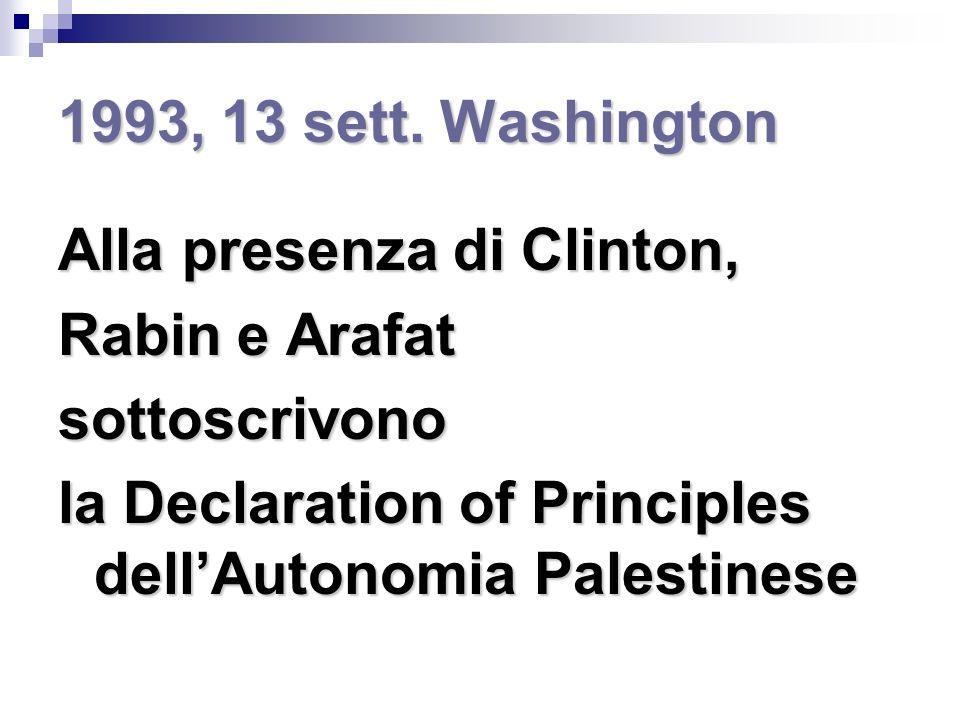 Oslo I (1994) e Oslo II (1995) Rabin e Arafat concordano su: Palestina divisa in zona A, zona B e zona C Blocco insediamenti Costruzione porto e aeroporto Nulla su: Gerusalemme Rifugiati Acqua