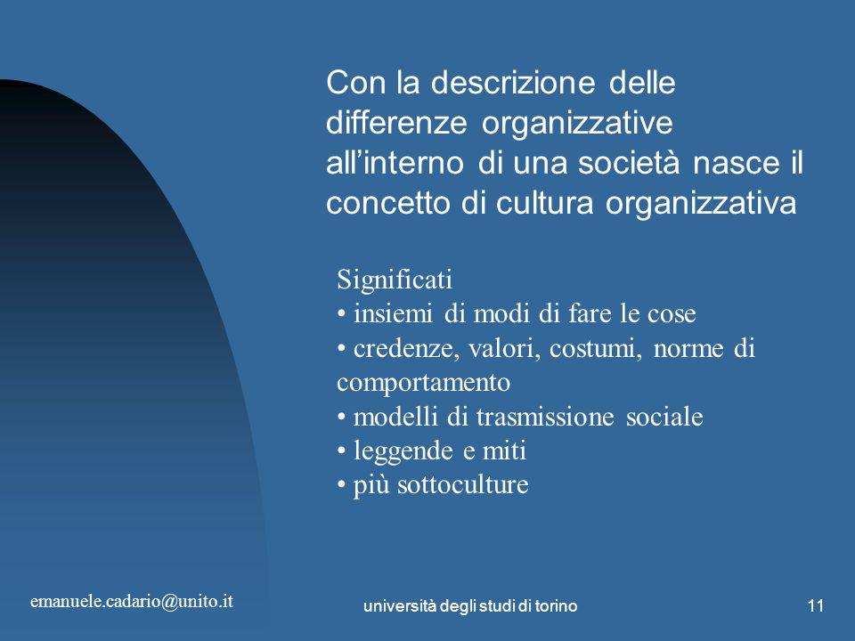 università degli studi di torino11 Con la descrizione delle differenze organizzative allinterno di una società nasce il concetto di cultura organizzat